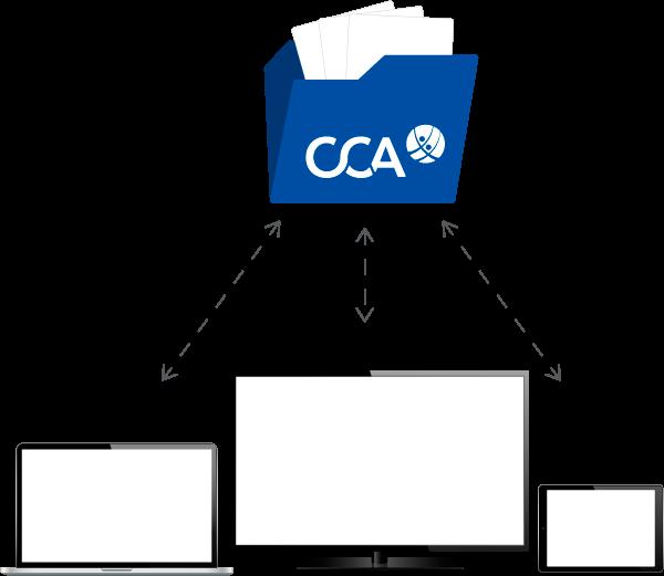 3 mobile Endgeräte und CCA Folder